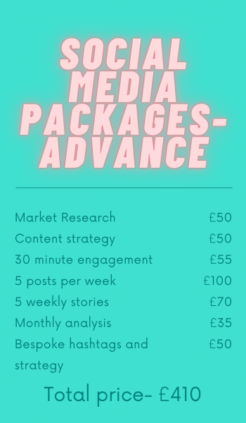 The advanced social media package is best for businesses who are beginning to see more growth and need more time to focus on their other business operations. If you would like to free up some of your time whilst building on your brand awareness, then this is the package for you!